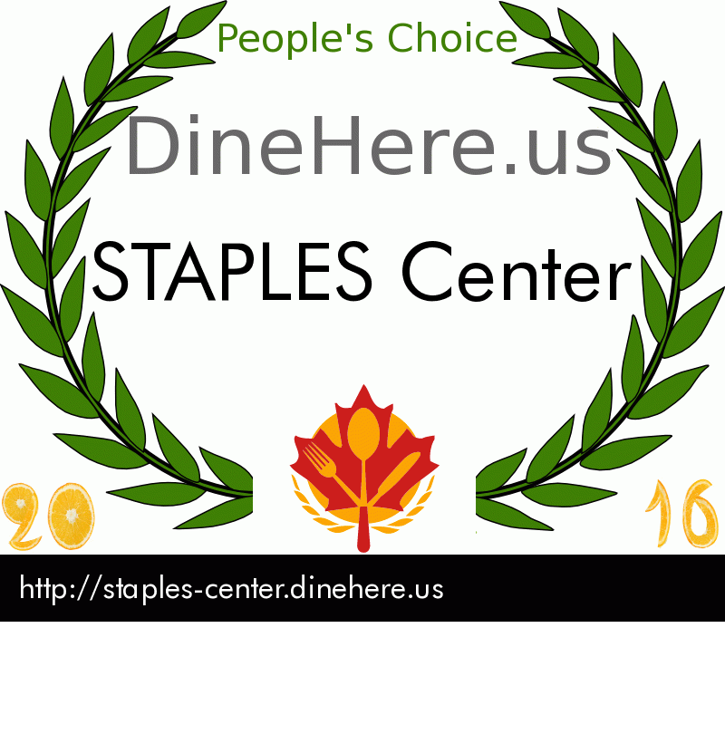 STAPLES Center DineHere.us 2016 Award Winner